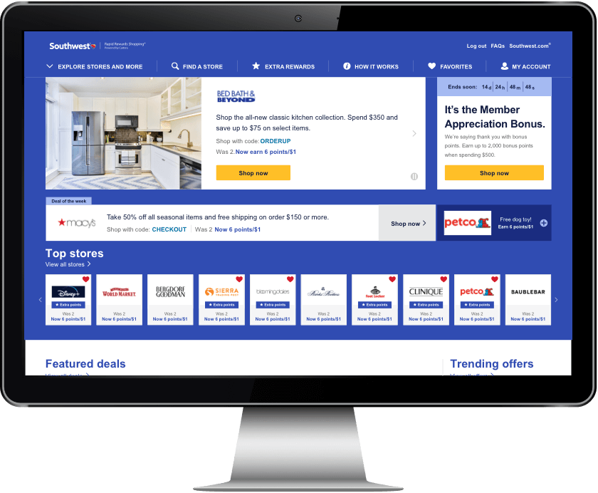 Southwest Airlines Rapid Rewards Shopping: Shop Online